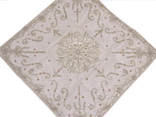"""White Beaded Luxurious Organza Tablecloth - Handmade Table Topper ~ 40"""""""