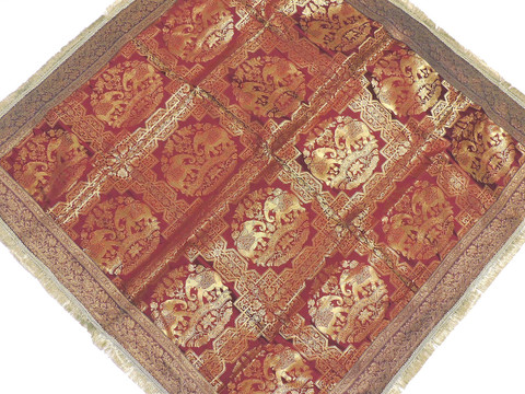 """Wine Elephant Zari Brocade Tablecloth - Fringed Indian Table Overlay Topper 48"""""""