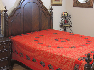 Red Gold Print Elephant Tapestry Bed Sheet - Mandala Cotton Bedding Linens ~ Full