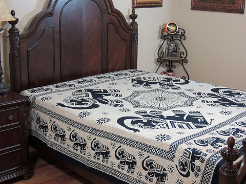 Elephant Wall Tapestry Bed Sheet - Antique White Cotton Printed Bedding Linens ~ Full
