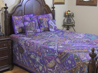 Purple Decorative Beaded Sari Bedding - Artisan Handmade Duvet Pillow Shams ~ King