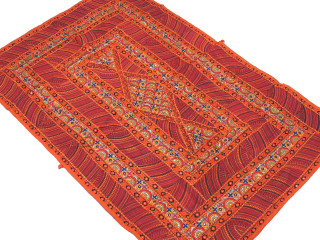 Orange Parsi Embroidery Textile Tapestry - Ethnic Indian Wall Hanging 60""
