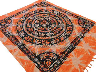 Orange Ethnic Bed Linens Indian Flat Sheet Block Printed Elephant Mandala Motifs