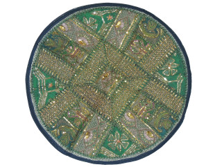 Green Round Decorative Floor Pillow Cover - Gold Zari Embroidery Indian Cushion 26""