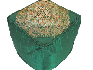 Green Floor Seating Comfy Pouf Cover - Zari Embroidered Indian Ottoman 18""