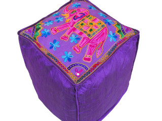 Purple Elephant Floral Embroidered Pouf Cover - Indian Inspired Ottoman Floor Seating 16""