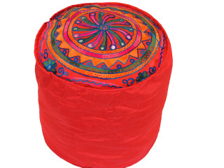 Red Embroidered Round Pouf Cover - Traditional Indian Floor Seating Ottoman 16""