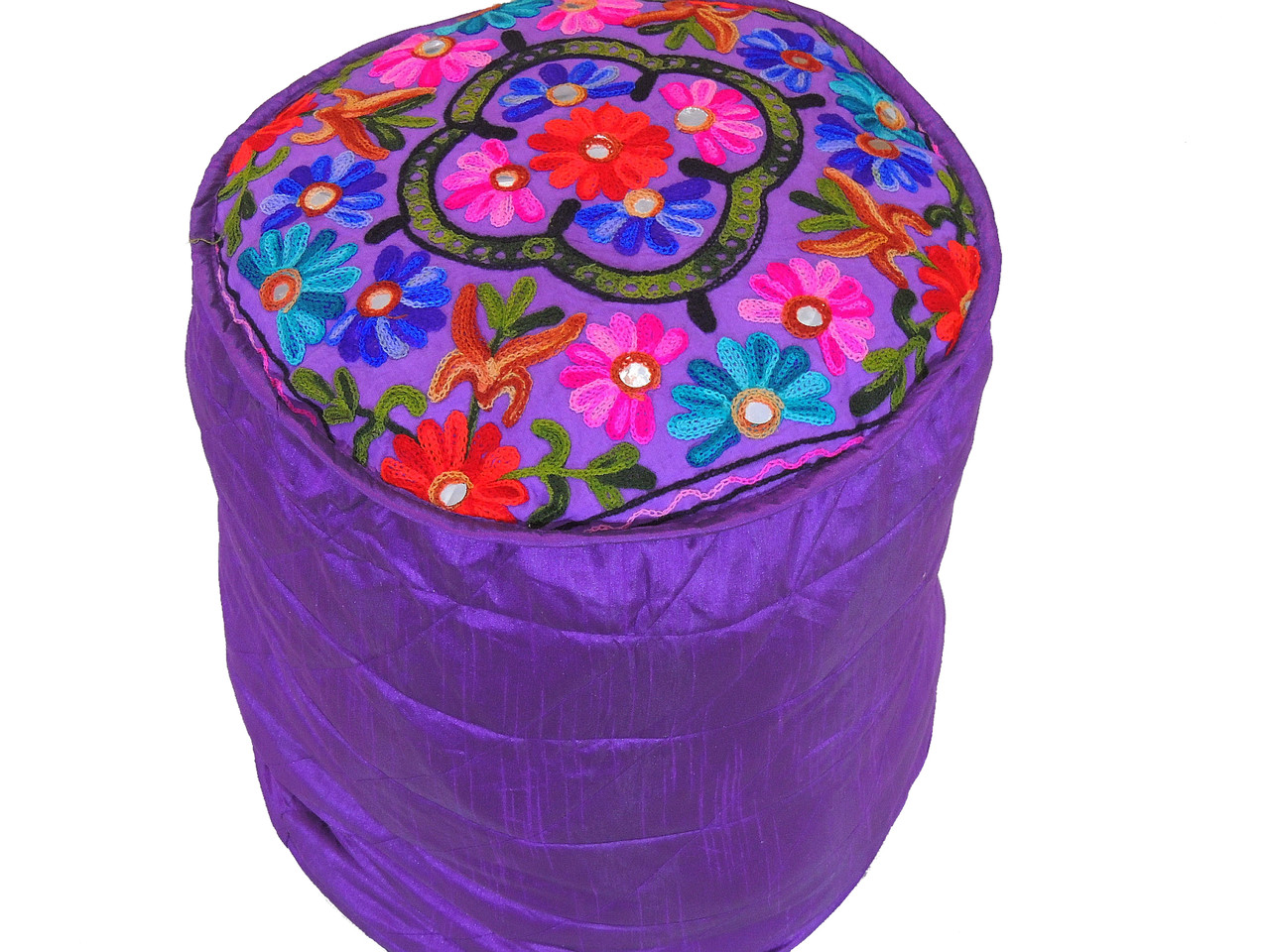 Purple Embroidered Round Pouf Cover Traditional Indian
