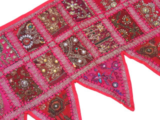 Magenta Beautiful Door Topper Valance - Kundan Elegant Window Covering Toran 60""