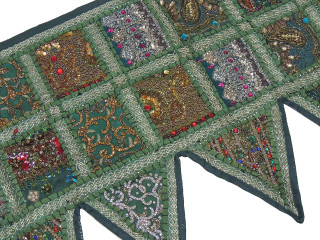 Green Handmade Window Door Topper Valance - Kundan Patchwork Decorative Toran 60""