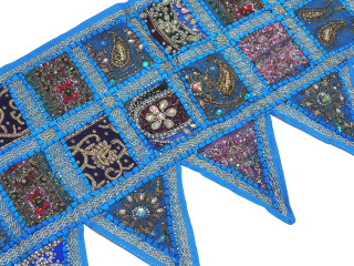 Blue Handmade Window Door Topper Valance - Kundan Patchwork Decorative Toran 60""