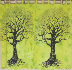 Green Tree of Life Curtains - 2 Elegant Cotton Print Window Treatments Panels 82""