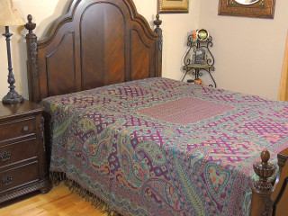 Purple Cashmere Rang Mahal Bedding - Paisley Kani Reversible Wool Blanket ~ Queen