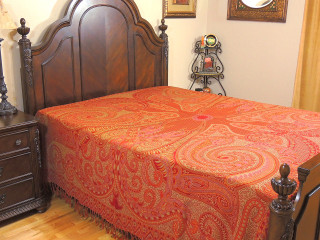 Crimson Sartaj Kashmir Wool Bedding - Ethnic Indian Bedspread Blanket ~ Queen