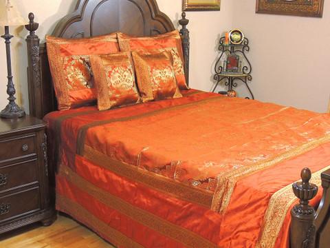 Rust Orange Elephant Duvet Bedding Set - Indian Style Brocade Ensemble ~ Queen
