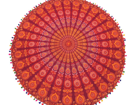 Maroon Paisley Mandala Round Tablecloth - Cotton Print Fringed Table Overlay 70""