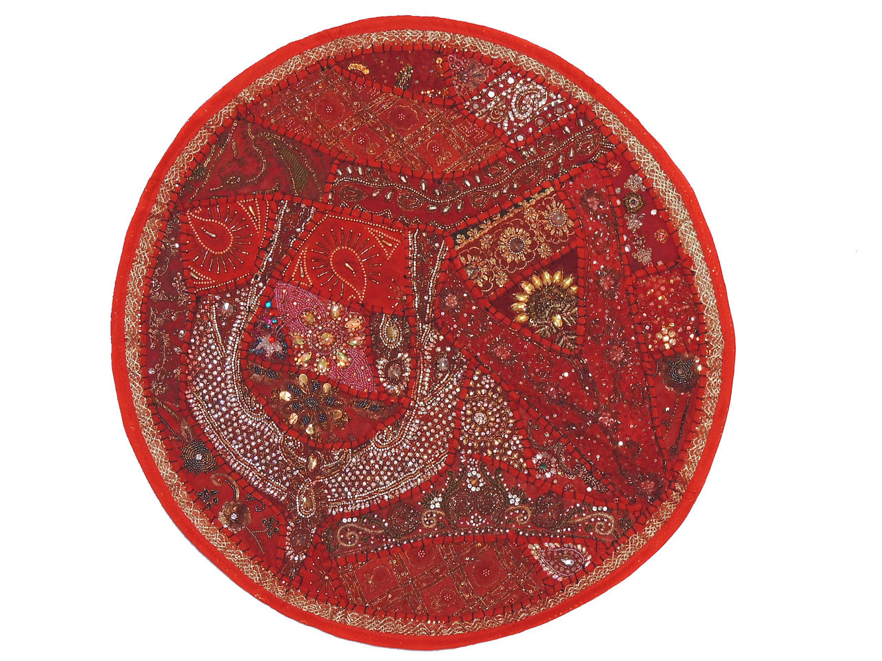 Red Beaded Round Decorative Pillow Cover Sari Floor
