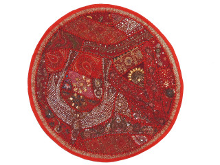 Red Beaded Round Decorative Pillow Cover - Sari Floor Seating Cushion 26""