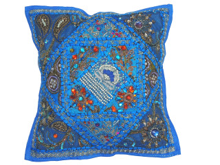 Blue Beautiful Handmade Throw Pillow Cover - Fancy Accent Cushion 16""