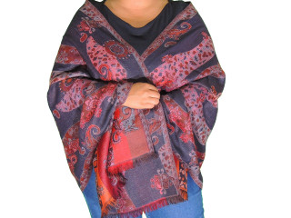 Multicolor Wool Women's Shawl Wrap - Warm Kashmir Woven Dress Scarf 78""
