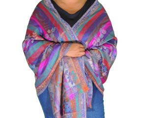 Stylish Multicolor Wool Women's Shawl Wrap - Jamawar Evening Dress Scarf 78""