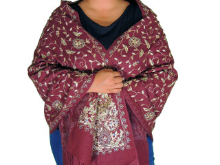 Dark Maroon Zari Embroidered Wrap - Fashion Warm Shoulder Shawl 78""