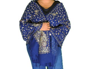 Navy Blue Zari Embroidered Wrap - Fashion Warm Shoulder Shawl 78""