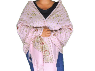 Champagne Pink Zari Embroidered Wrap - Fashion Warm Shoulder Shawl 78""
