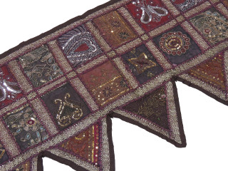Brown Beautiful Door Topper Valance - Beaded Elegant Window Covering Toran 80""