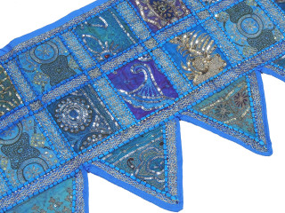 Blue Beaded Door Topper Valance - Window Covering Toran from India 80""