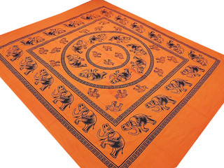 Bedroom Mandala Print Sheet Cotton Full Orange Flat Bed Linen India Tapestry