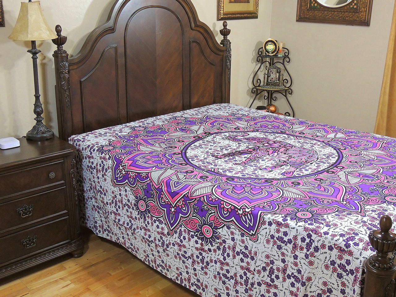Purple Pink Elephant Bed Sheet Floral Indian Cotton Tapestry