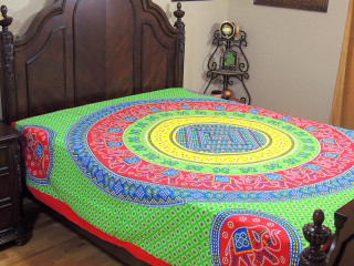 Green Yellow Mandala Bed Sheet - Elephant Dot Print Cotton Tapestry Bedding ~ Full