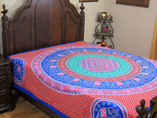 Red Pink Blue Mandala Bed Sheet - Elephant Dot Print Cotton Tapestry Bedding ~ Full