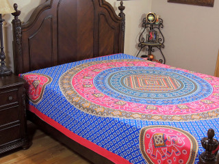 Blue Pink Mandala Bed Sheet - Elephant Dot Print Cotton Tapestry Bedding ~ Full