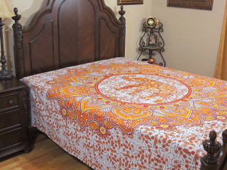 Orange Yellow Elephant Bed Sheet - Floral Petals Indian Cotton Tapestry Bedding ~ Full