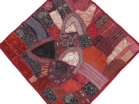 """Maroon Inspirational Home Wall Decoration - Unique Patchwork Tapestry Art Textile 38"""""""
