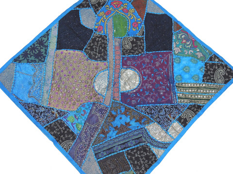 """Maya Blue Decorative Wall Hanging - Patchwork Square Beaded Tapestry Textile 38"""""""