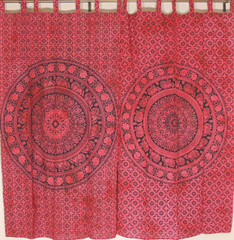 Vermilion Red Elephant Mandala Curtain Panels - 2 Cotton Indian Window Treatments 82""