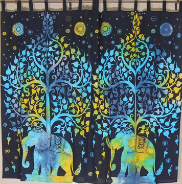 Tree of Life Elephant Curtains - Black Cotton Indian Window Treatments 80