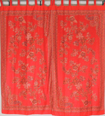 Red Floral Indian Window Treatments - 2 Woven Jamawar Curtain Panels 84""