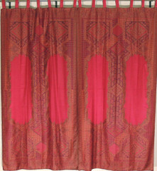 Deep Maroon Floral Indian Window Treatments - 2 Woven Jamawar Curtain Panels 84""