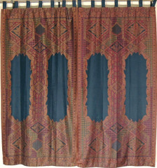 "Black Floral Indian Window Treatments - 2 Woven Jamawar Curtain Panels 84"""