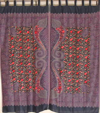 Black Purple Floral Window Treatments - 2 Embroidered Jamawar Curtain Panels 84""