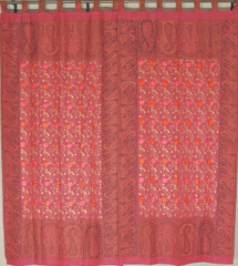 Terra Cotta Floral Window Treatments - 2 Embroidered Jamawar Curtain Panels 84""