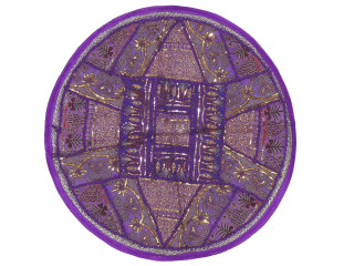 Purple Large Round Floor Pillow Cover - Ethnic Seating Beaded Indian Cushion 26""