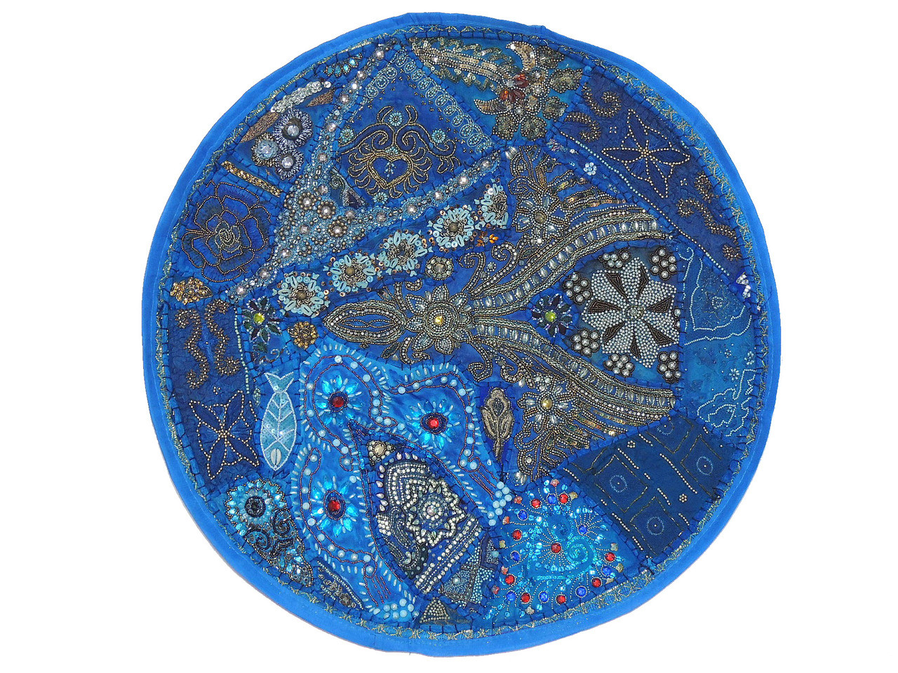 Blue Large Round Floor Pillow Cover - Ethnic Seating Beaded Indian ...