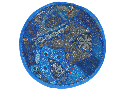 Blue Large Round Floor Pillow Cover - Ethnic Seating Beaded Indian Cushion 26""
