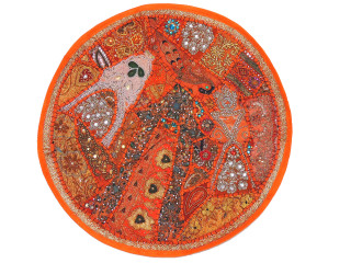 Orange Large Round Floor Pillow Cover - Ethnic Seating Beaded Indian Cushion 26""