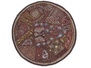 """Dark Chocolate Large Round Floor Pillow Cover - Ethnic Seating Beaded Indian Cushion 26"""""""